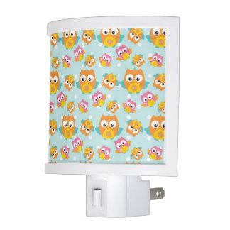 Adorably Cute Orange and Pink Owl Pattern Print Night Lite