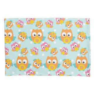 Adorably Cute Orange and Pink Owl Pattern Print Pillowcase