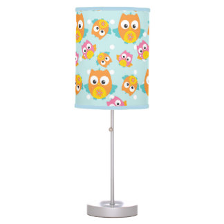 Adorably Cute Orange and Pink Owl Pattern Print Table Lamp