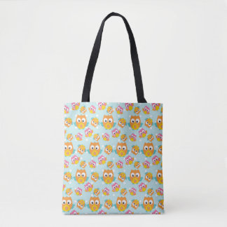 Adorably Cute Orange and Pink Owl Pattern Tote Bag