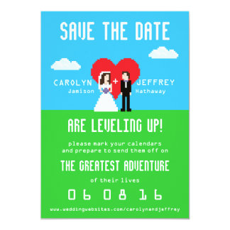 "Adorably Nerdy 8-Bit Bride & Groom Save the Dates 5"" X 7"" Invitation Card"