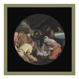 "Adoration of Shepherds 5.25"" Square Invitation Card"