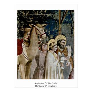 Adoration Of The Child By Giotto Di Bondone Postcard
