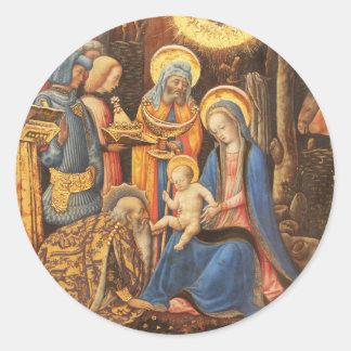 Adoration of the Kings  (Adorazione dei Magi) Classic Round Sticker