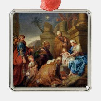 Adoration of the Magi 3 Silver-Colored Square Ornament