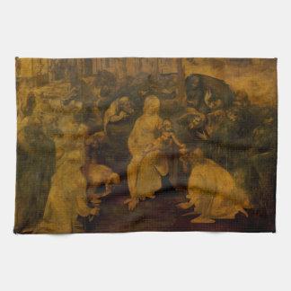 Adoration of the Magi by Leonardo da Vinci Kitchen Towel
