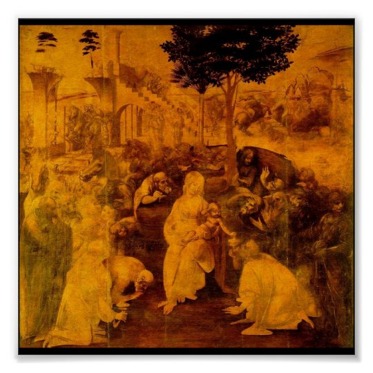 Adoration of the Magi by Leonardo Da Vinci Poster