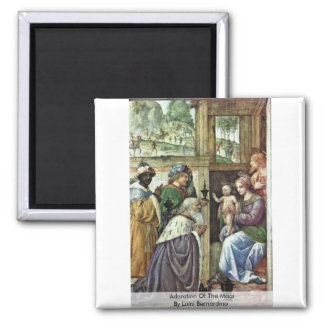 Adoration Of The Magi By Luini Bernardino Square Magnet