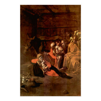 Adoration of the Shepherds by Caravaggio Poster