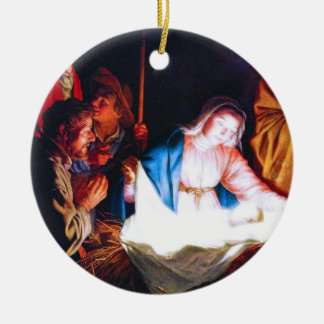 Adoration of the Shepherds Round Ceramic Ornament