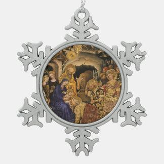 Adorazione dei Magi Snowflake Pewter Christmas Ornament