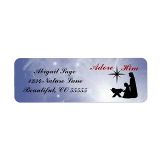 Adore Him - Nativity Scene Return Address Labels