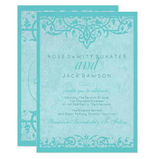 Adoring Aqua Ornate Wedding Invitations