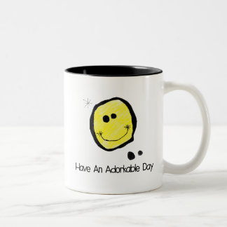 Adorkable Happy Face-Have an Adorkable Day Two-Tone Coffee Mug