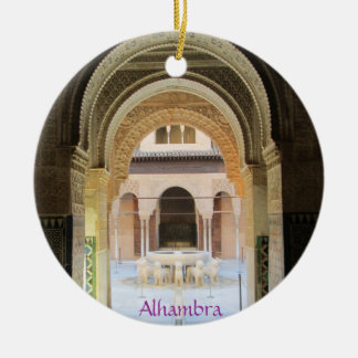 Adornment, Patio of the From Leon one, Alhambra, G Round Ceramic Ornament