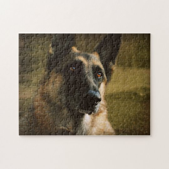 Adoroing German Shepherd Photo Jigsaw Puzzle