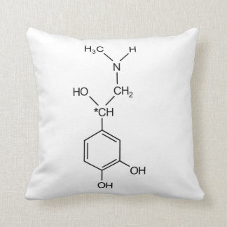 adrenaline chemical formula chemistry hormone elem throw pillow