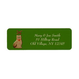 Adresse de retour d ornement de chat d arbre de étiquette d'adresse retour