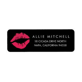 Adresse de retour de lèvres noires et roses étiquette d'adresse retour