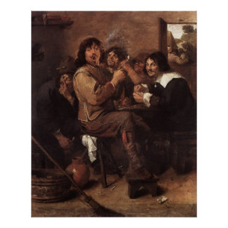 Adriaen Brouwer Smoking Men Poster