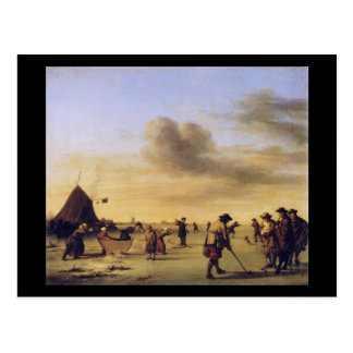 Adriaen van de Velde Golfers on the Ice near Haarl Postcard