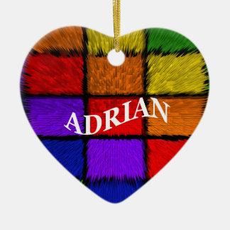 ADRIAN (male names) Ceramic Heart Ornament