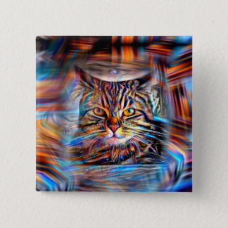 Adrift in Colors Abstract Revolution Cat 2 Inch Square Button