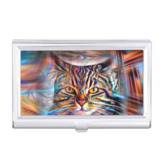 Adrift in Colors Abstract Revolution Cat Business Card Holder