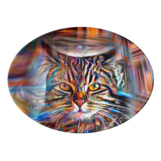 Adrift in Colors Abstract Revolution Cat Porcelain Serving Platter