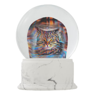 Adrift in Colors Abstract Revolution Cat Snow Globe