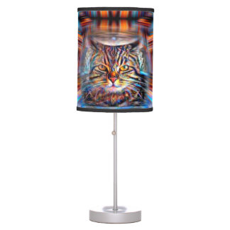 Adrift in Colors Abstract Revolution Cat Table Lamp