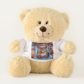 Adrift in Colors Abstract Revolution Cat Teddy Bear