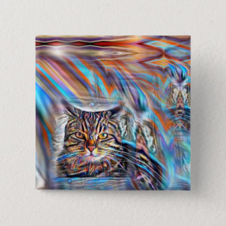 Adrift in Colors Tropical Sunset Cat 2 Inch Square Button