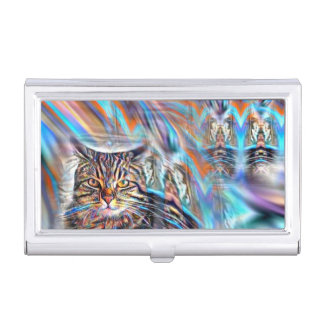 Adrift in Colors Tropical Sunset Cat Business Card Holder