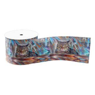 Adrift in Colors Tropical Sunset Cat Grosgrain Ribbon