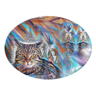 Adrift in Colors Tropical Sunset Cat Porcelain Serving Platter