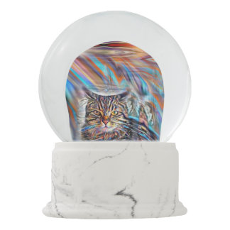 Adrift in Colors Tropical Sunset Cat Snow Globe