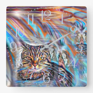 Adrift in Colors Tropical Sunset Cat Square Wall Clock