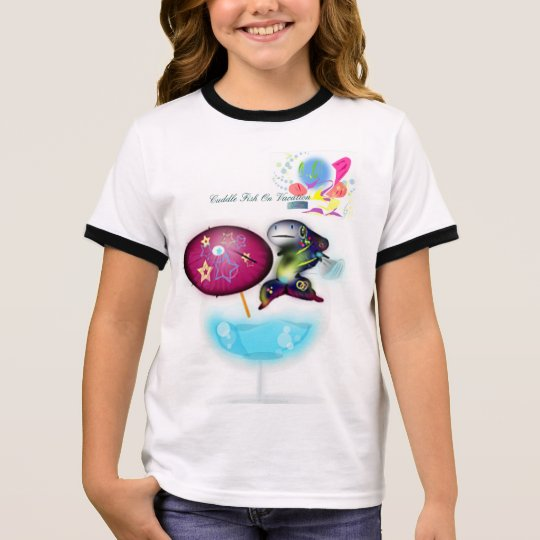 Adroit Cuddle Fish On Vacation Kids Wear Ringer T-Shirt