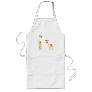 Adult and Baby Giraffe Cartoon Apron