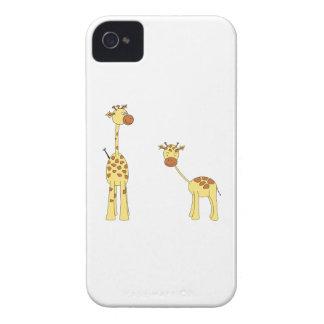 Adult and Baby Giraffe. Cartoon iPhone 4 Case