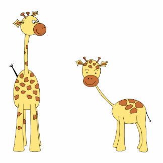 Adult and Baby Giraffe. Cartoon Cut Out