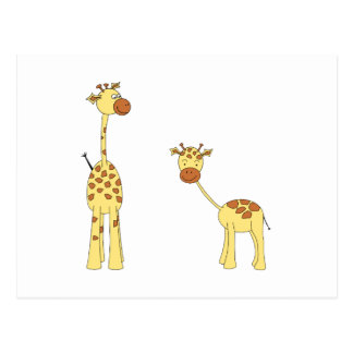 Adult and Baby Giraffe. Cartoon Postcard