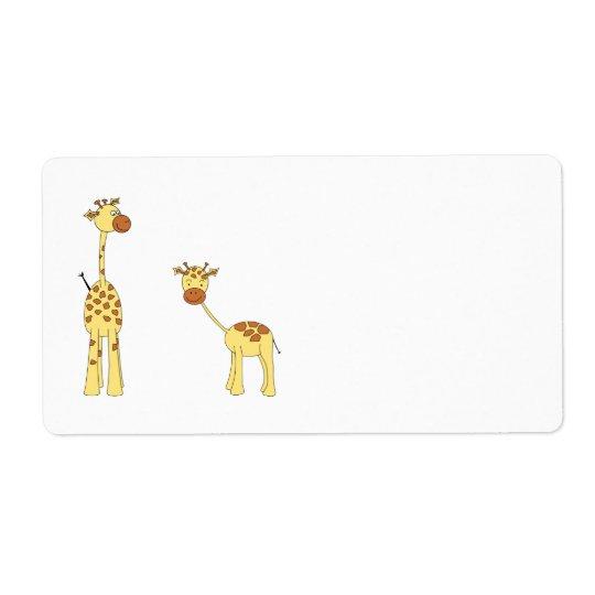 Adult and Baby Giraffe. Cartoon Shipping Label