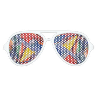 Adult Aviator Party Shades, White, Abstract Sunglasses