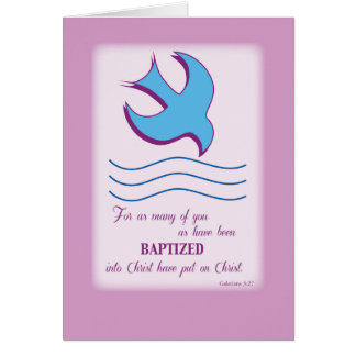 Adult Baptism Dove on Pink Card
