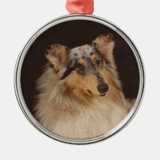 Adult Blue Collie Christmas Silver-Colored Round Ornament