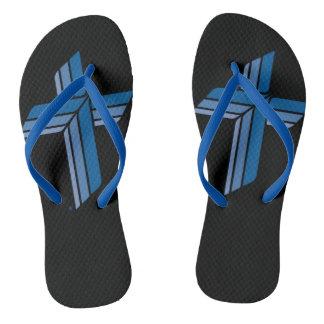 Adult, Blue Cross, Blue Slim Straps Flip Flops