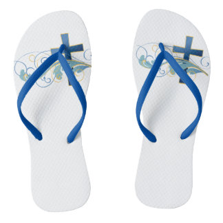 Adult, Blue Cross Slim Straps Flip Flops