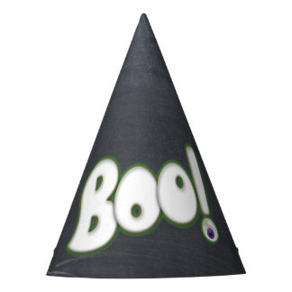 Adult Boo with Zombie Eye Halloween Chalkboard Party Hat
